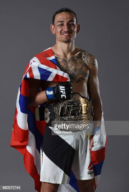 Max Holloway poses for a portrait backstage after his TKO victory over Jose Aldo during the UFC 212 event at Jeunesse Arena on June 3 2017 in Rio de...