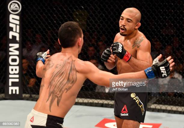 Max Holloway taunts Jose Aldo of Brazil in their UFC featherweight championship bout during the UFC 212 event at Jeunesse Arena on June 3 2017 in Rio...