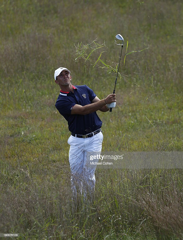 Max Homa of the United States team hits his second shot on the first hole during Day Two of the 2013 Walker Cup at National Golf Links of America on September 8, 2013 in Southampton, New York.