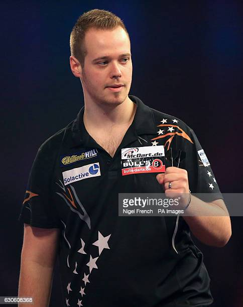 Max Hopp celebrates during day eleven of the William Hill World Darts Championship at Alexandra Palace London