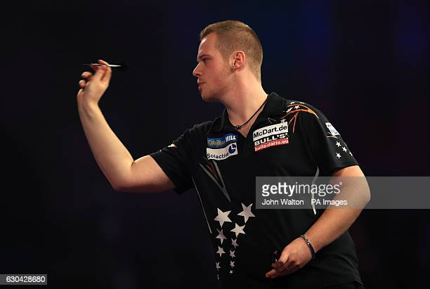 Max Hopp during day eight of the William Hill World Darts Championship at Alexandra Palace London
