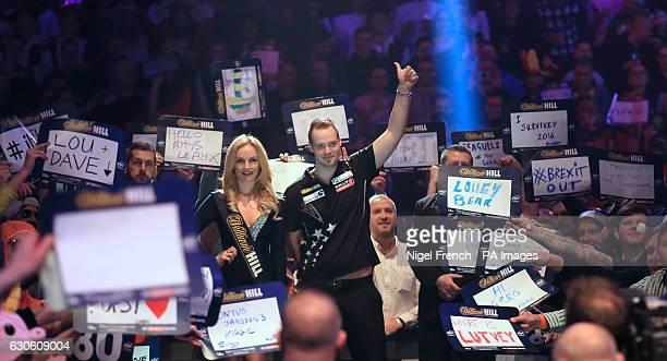 Max Hopp walks on during day eleven of the William Hill World Darts Championship at Alexandra Palace London