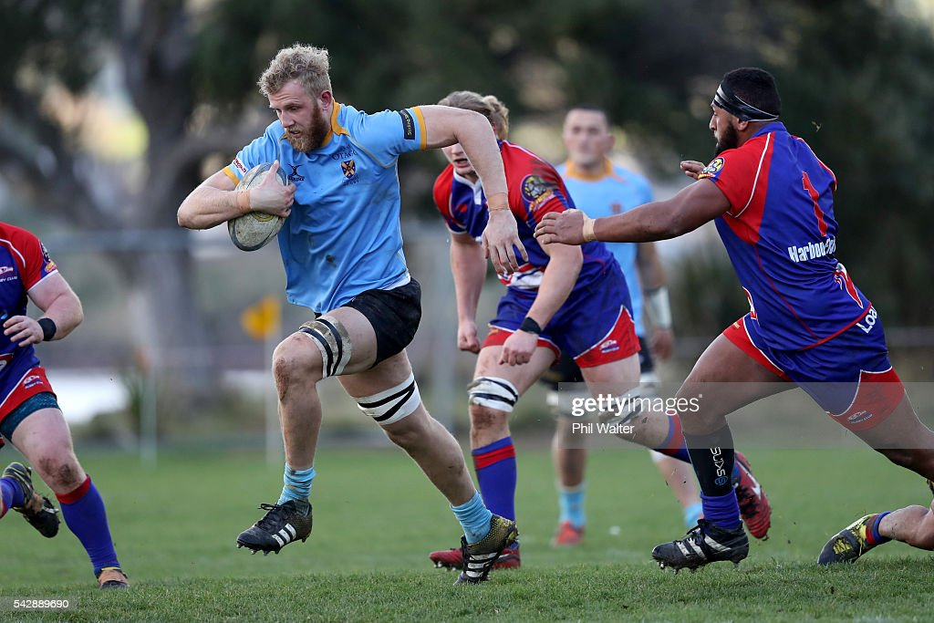 Max Hunt of University is tackled during the Otago Club Rugby match between Harbour and University at Watson Park on June 25, 2016 in Dunedin, New Zealand.