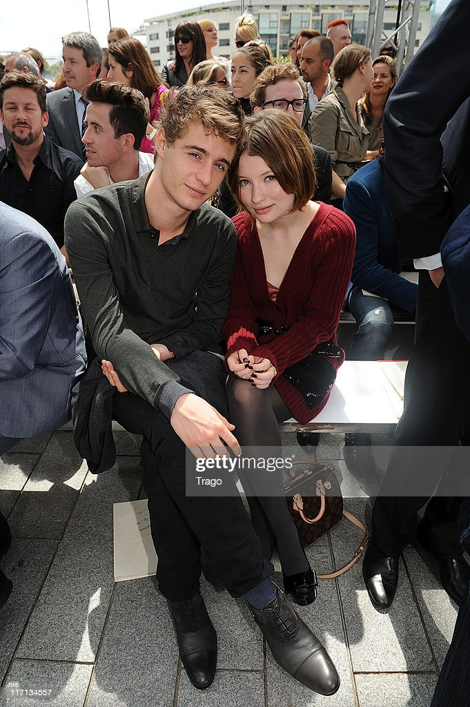 <a gi-track='captionPersonalityLinkClicked' href=/galleries/search?phrase=Max+Irons&family=editorial&specificpeople=762929 ng-click='$event.stopPropagation()'>Max Irons</a> and <a gi-track='captionPersonalityLinkClicked' href=/galleries/search?phrase=Emily+Browning&family=editorial&specificpeople=214573 ng-click='$event.stopPropagation()'>Emily Browning</a> attend the Louis Vuitton Menswear Spring/Summer 2012 show as part of Paris Fashion Week at Parc Andre Citroen on June 23, 2011 in Paris, France.