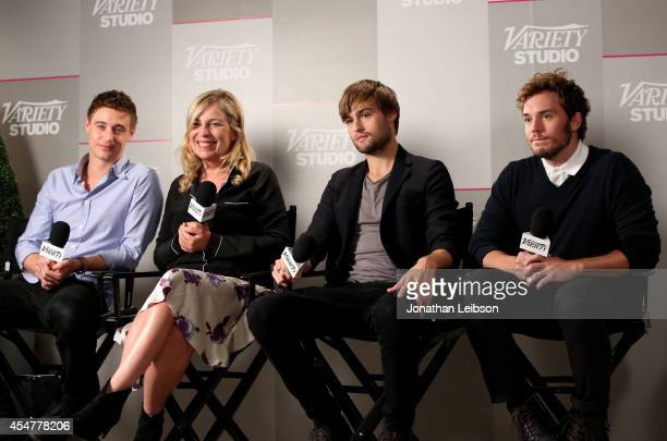 Max Irons director Lone Scherfig actor Douglas Booth and actor Sam Claflin attend day 2 of the Variety Studio presented by Moroccanoil at Holt...
