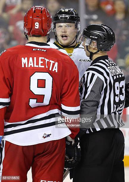 Max Jones of the London Knights has some words with Jordan Maletta of the Niagara IceDogs during Game Four of the OHL Championship final for the...