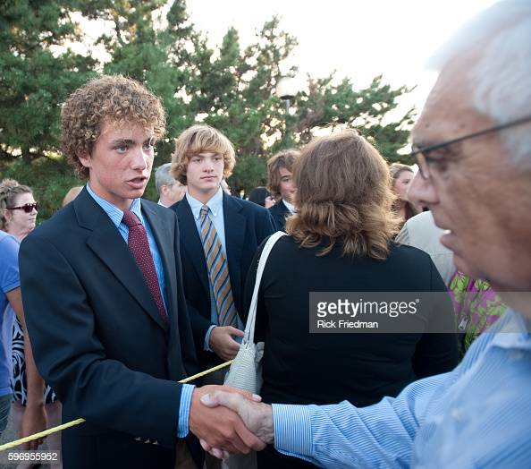 Max Kennedy Jr age 15 son of Max Kennedy greeting people waiting in the 3 plus hour line to pay respects to Senator Edward M Kennedy at the John F...
