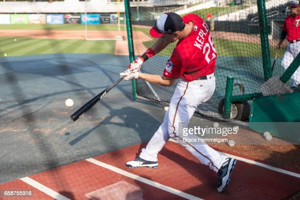 Max Kepler of the Minnesota Twins bats prior to a game against the Tampa Bay Rays on February 24 2017 at the CenturyLink Sports Complex in Fort Myers...