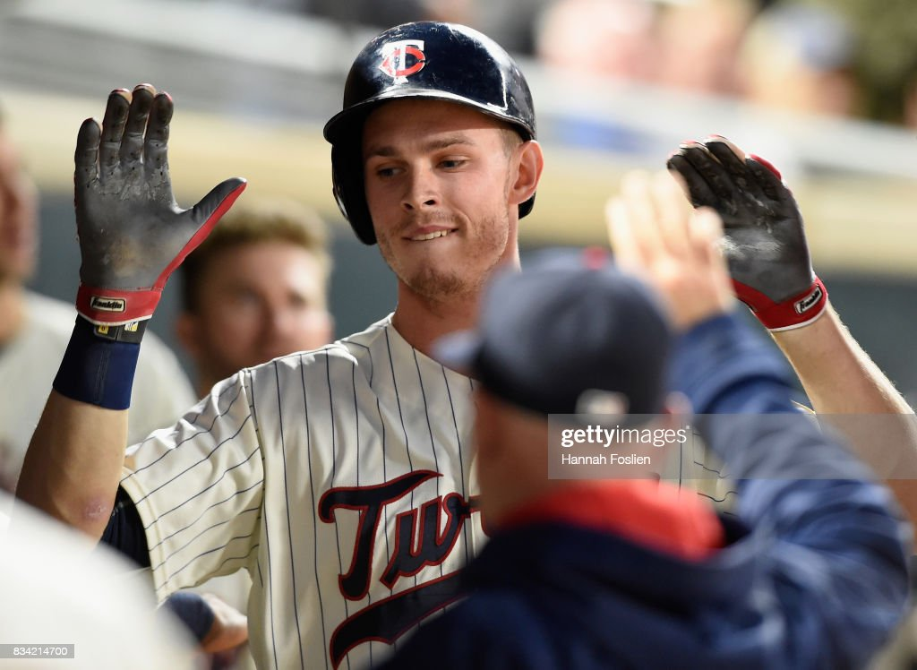 Max Kepler #26 of the Minnesota Twins celebrates a solo home run against the Cleveland Indians during the seventh inning in game two of a doubleheader on August 17, 2017 at Target Field in Minneapolis, Minnesota. The Twins defeated the Indians 4-2.