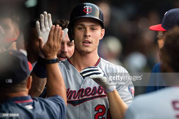 Max Kepler of the Minnesota Twins celebrates after hitting a solo home run during the third inning against the Cleveland Indians at Progressive Field...