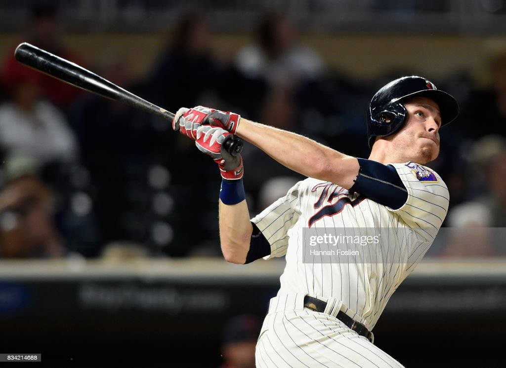 Max Kepler #26 of the Minnesota Twins hits a solo home run against the Cleveland Indians during the seventh inning in game two of a doubleheader on August 17, 2017 at Target Field in Minneapolis, Minnesota. The Twins defeated the Indians 4-2.