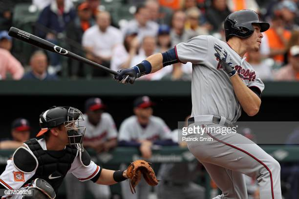 Max Kepler of the Minnesota Twins hits an RBI double against the Baltimore Orioles during the second inning at Oriole Park at Camden Yards on May 24...