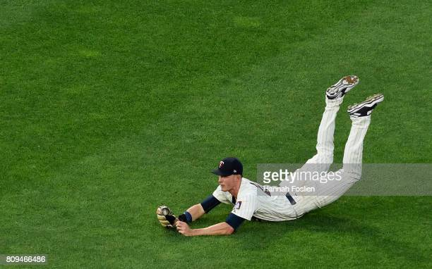 Max Kepler of the Minnesota Twins makes a catch in right field of the ball hit by Albert Pujols of the Los Angeles Angels of Anaheim during the sixth...