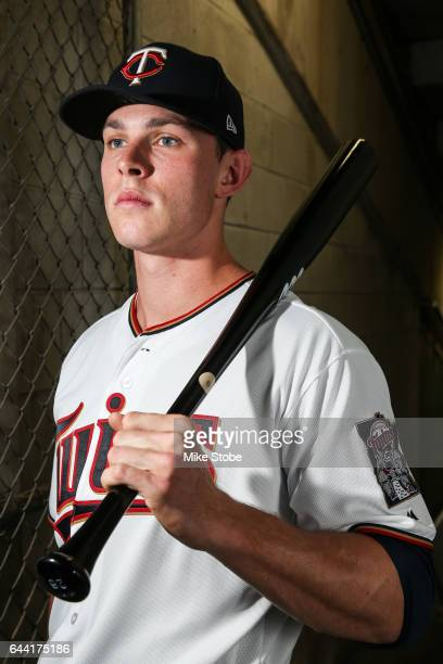 Max Kepler of the Minnesota Twins poses for a portait during a MLB photo day at CenturyLink Sports Complex Hammond Stadium on February 23 2017 in...
