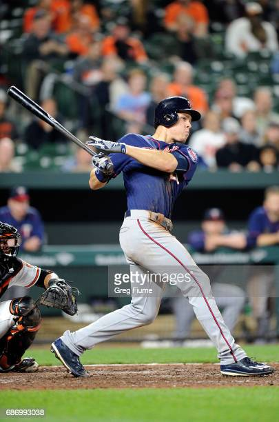 Max Kepler of the Minnesota Twins reaches base on an error and drives in a run during the sixth inning against the Baltimore Orioles at Oriole Park...
