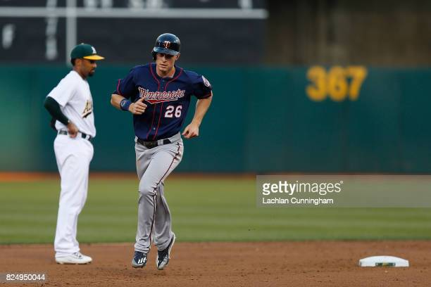 Max Kepler of the Minnesota Twins rounds the bases after a tworun home run hit by Miguel Sano of the Minnesota Twins in the fifth inning against the...
