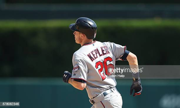 Max Kepler of the Minnesota Twins rounds the bases after hitting a solo home run in the ninth inning during the game against the Detroit Tigers on...