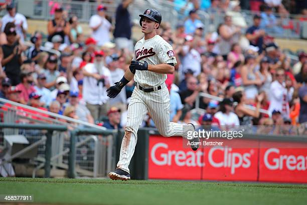 Max Kepler of the Minnesota Twins runs the bases after hitting a 2 run homer in the second inning against the Texas Rangers at Target Field on July 2...