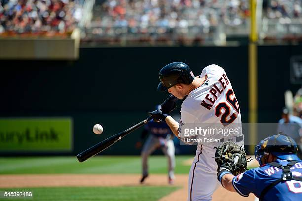 Max Kepler of the Minnesota Twins takes an at bat against the Texas Rangers during the game on July 3 2016 at Target Field in Minneapolis Minnesota...