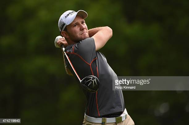 Max Kieffer of Germany tees off on the 2nd hole during day 1 of the BMW PGA Championship at Wentworth on May 21 2015 in Virginia Water England
