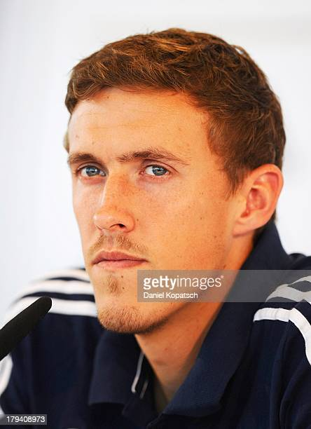 Max Kruse attends a press conference held by the German national football team on September 3 2013 in Munich Germany