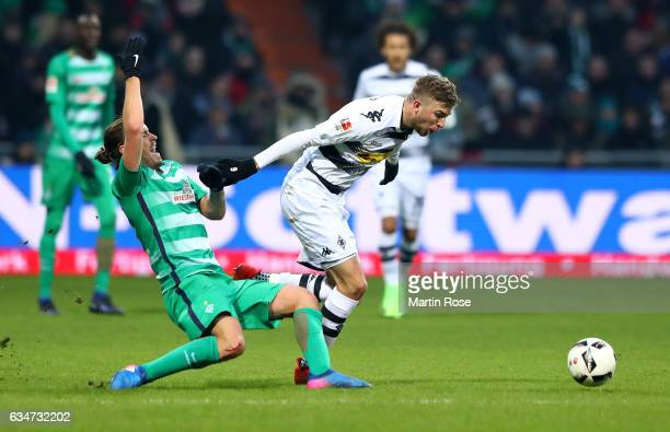 Max Kruse of Bremen and Christoph Kramer of Moenchengladbach battle for the ball during the Bundesliga match between Werder Bremen and Borussia...