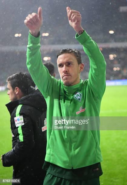 Max Kruse of Bremen celebrates after the Bundesliga match between SV Werder Bremen and Hannover 96 at Weserstadion on November 19 2017 in Bremen...