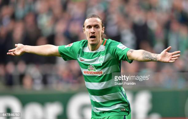 Max Kruse of Bremen reacts during the Bundesliga match between Werder Bremen and SV Darmstadt 98 at Weserstadion on March 4 2017 in Bremen Germany