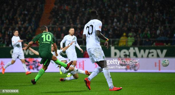 Max Kruse of Bremen scores his second goal during the Bundesliga match between SV Werder Bremen and Hannover 96 at Weserstadion on November 19 2017...