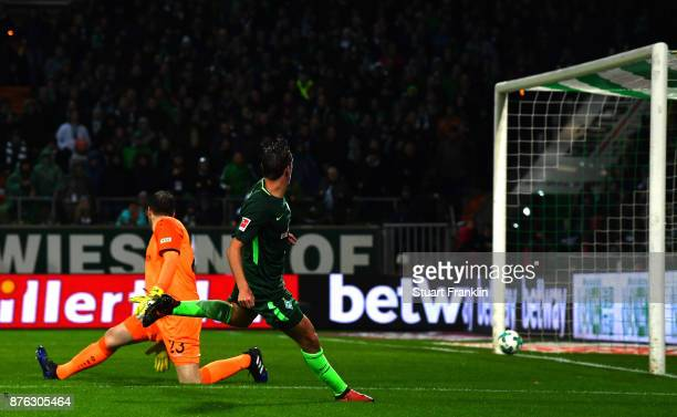Max Kruse of Bremen scores his third goal during the Bundesliga match between SV Werder Bremen and Hannover 96 at Weserstadion on November 19 2017 in...