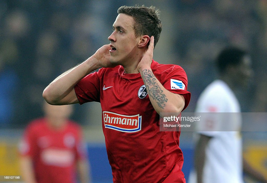 Max Kruse of Freiburg celebrates his opening goal during the Bundesliga match between SC Freiburg and VfL Borussia Moenchengladbach at MAGE SOLAR Stadium on March 30, 2013 in Freiburg, Germany.