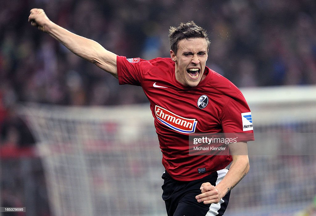 <a gi-track='captionPersonalityLinkClicked' href=/galleries/search?phrase=Max+Kruse&family=editorial&specificpeople=3945507 ng-click='$event.stopPropagation()'>Max Kruse</a> of Freiburg celebrates his opening goal during the Bundesliga match between SC Freiburg and VfL Borussia Moenchengladbach at MAGE SOLAR Stadium on March 30, 2013 in Freiburg, Germany.