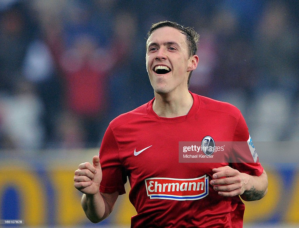 Max Kruse of Freiburg celebrates his second goal during the Bundesliga match between SC Freiburg and VfL Borussia Moenchengladbach at MAGE SOLAR Stadium on March 30, 2013 in Freiburg, Germany.