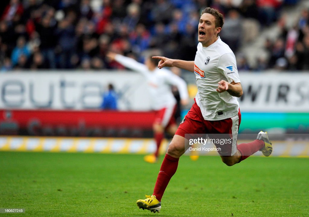 <a gi-track='captionPersonalityLinkClicked' href=/galleries/search?phrase=Max+Kruse&family=editorial&specificpeople=3945507 ng-click='$event.stopPropagation()'>Max Kruse</a> of Freiburg celebrates his team's first goal during the Bundesliga match between TSG 1899 Hoffenheim and Sc Freiburg at Rhein-Neckar-Arena on February 2, 2013 in Sinsheim, Germany.