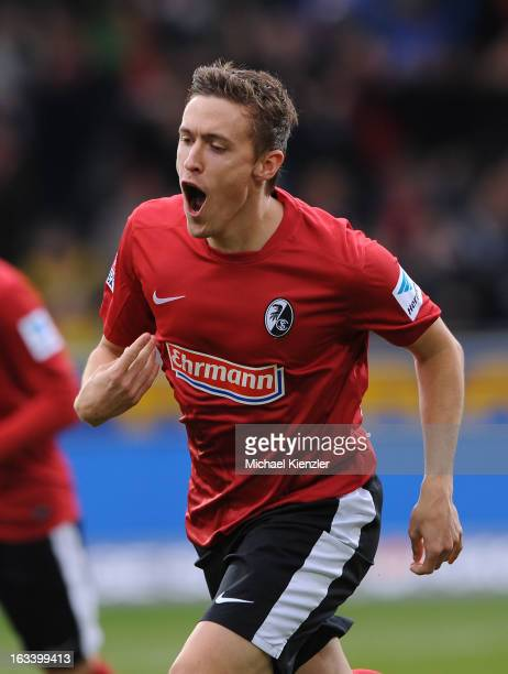 Max Kruse of Freiburg celebrates his10 during the Bundesliga match between SC Freiburg and VfL Wolfsburg at MAGE SOLAR Stadium on March 9 2013 in...