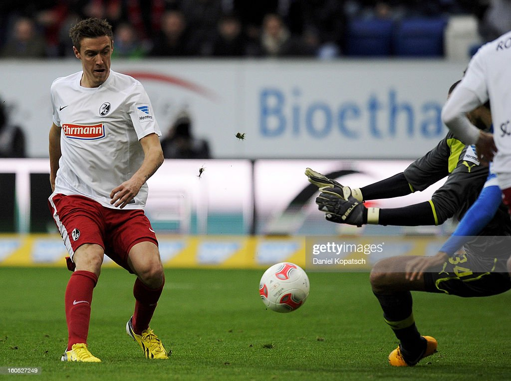 <a gi-track='captionPersonalityLinkClicked' href=/galleries/search?phrase=Max+Kruse&family=editorial&specificpeople=3945507 ng-click='$event.stopPropagation()'>Max Kruse</a> of Freiburg (L) scores his team's first goal during the Bundesliga match between TSG 1899 Hoffenheim and Sc Freiburg at Rhein-Neckar-Arena on February 2, 2013 in Sinsheim, Germany.