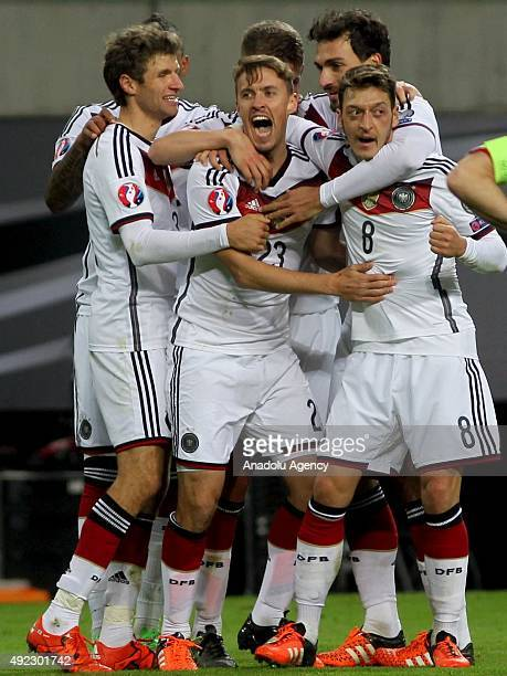 Max Kruse of Germany celebrates after scoring goal during the Euro 2016 group D qualifying football match between Germany and Georgia on October 11...