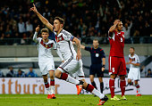Max Kruse of Germany celebrates after scoring his team's second goal during the UEFA EURO 2016 Group D qualifying match between Germany and Georgia...