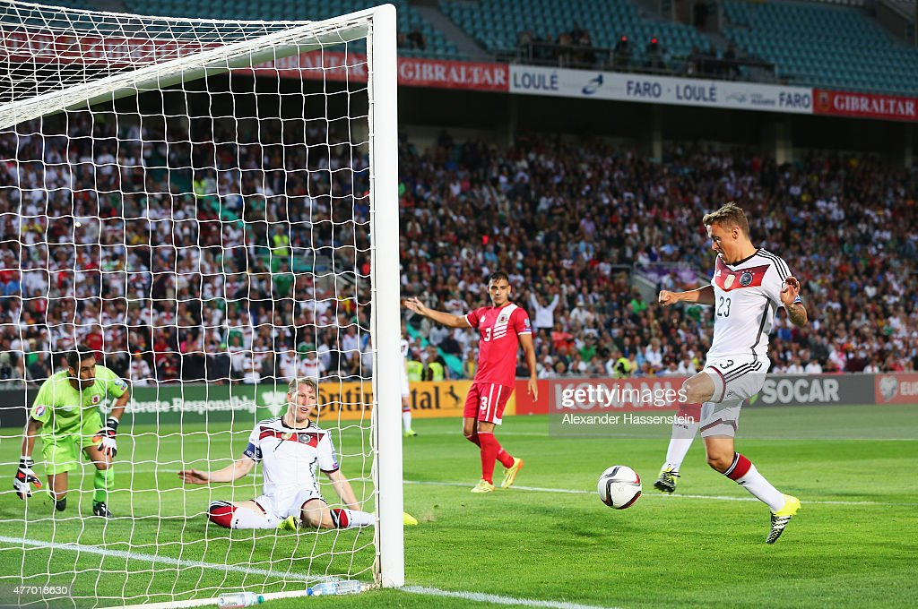 <a gi-track='captionPersonalityLinkClicked' href=/galleries/search?phrase=Max+Kruse&family=editorial&specificpeople=3945507 ng-click='$event.stopPropagation()'>Max Kruse</a> of Germany scores his team's second goal during the UEFA EURO 2016 Qualifier Group D match between Gibraltar and Germany at Estadio Algarve on June 13, 2015 in Faro, Portugal.