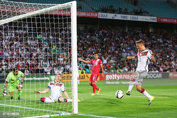 Max Kruse of Germany scores his team's second goal during the UEFA EURO 2016 Qualifier Group D match between Gibraltar and Germany at Estadio Algarve...