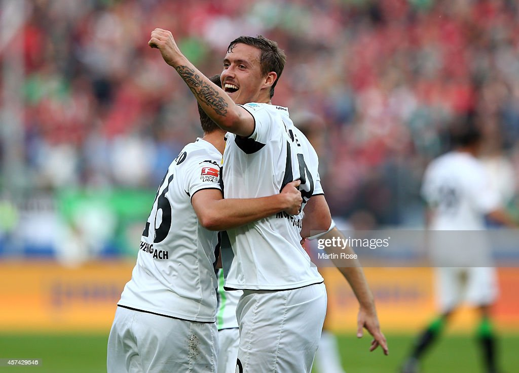 <a gi-track='captionPersonalityLinkClicked' href=/galleries/search?phrase=Max+Kruse&family=editorial&specificpeople=3945507 ng-click='$event.stopPropagation()'>Max Kruse</a> of Gladbach celebrates after scoring the 3rd goal during the Bundesliga match between Hannover 96 and Borussia Moenchengladbach at HDI-Arena on October 18, 2014 in Hanover, Germany.