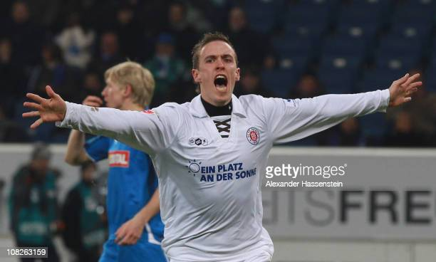 Max Kruse of St Pauli celebrates scoring the first team goal during the Bundesliga match between 1899 Hoffenheim and FC St Pauli at RheinNeckar Arena...