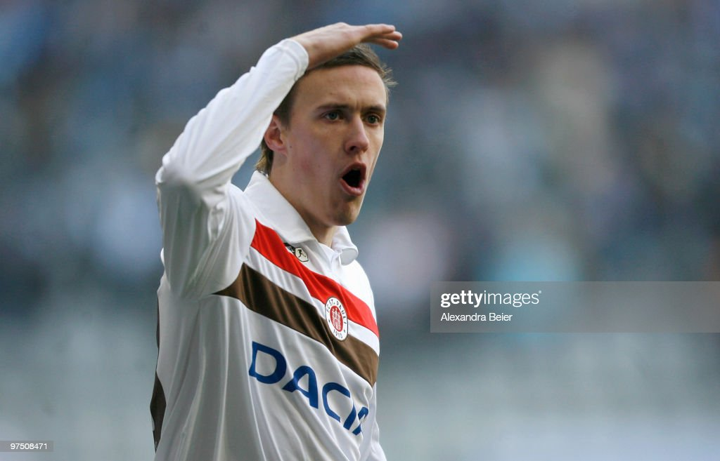 <a gi-track='captionPersonalityLinkClicked' href=/galleries/search?phrase=Max+Kruse&family=editorial&specificpeople=3945507 ng-click='$event.stopPropagation()'>Max Kruse</a> of St. Pauli reacts during the second Bundesliga match between TSV 1860 Muenchen and FC St. Pauli at Allianz Arena on March 7, 2010 in Munich, Germany.