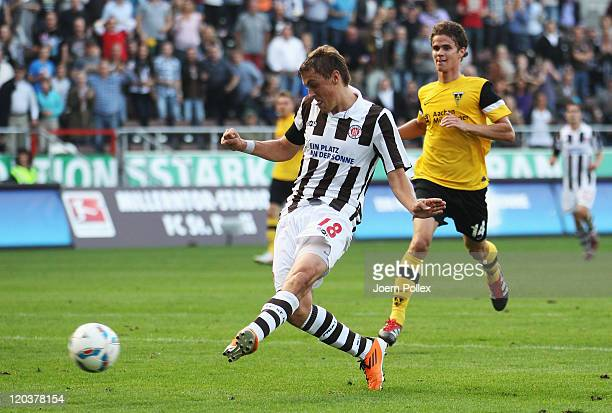Max Kruse of St Pauli scores his team's third goal during the Second Bundesliga match between FC St Pauli and Alemannia Aachen at Millerntor Stadium...