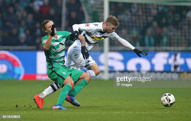 Max Kruse of Werder Bremen and Christoph Kramer of of Moenchengladbach battle for the ball during the Bundesliga match between Werder Bremen and...
