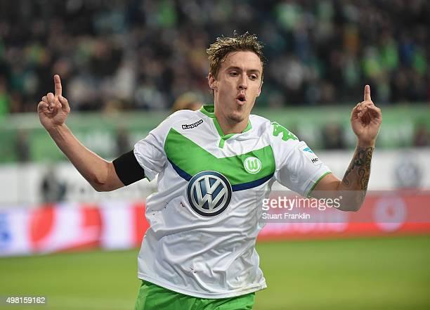 Max Kruse of Wolfsburg celebrates scoring his goal during the Bundesliga match between VfL Wolfsburg and Werder Bremen at Volkswagen Arena on...