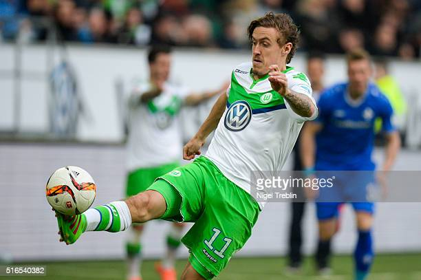 Max Kruse of Wolfsburg controls the ball during the Bundesliga match between VfL Wolfsburg and Hertha BSC Berlin at Volkswagen Arena on March 19 2016...