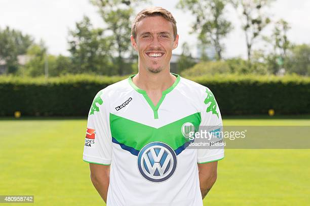Max Kruse poses during the team presentation of VfL Wolfsburg at Volkswagen Arena on July 16 2015 in Wolfsburg Germany