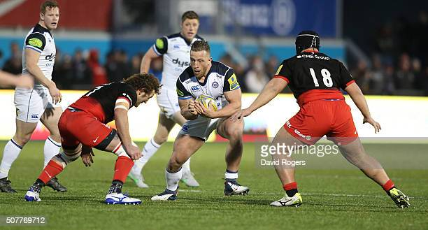 Max Lahiff of Bath runs with the ball during the Aviva Premiership match between Saracens and Bath at Allianz Park on January 30 2016 at Barnet...