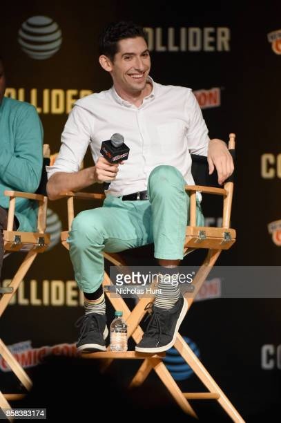 Max Landis speaks onstage during the Dirk Gently's Holistic Detective Agency BBC AMERICA Official Panel during 2017 New York Comic Con on October 6...